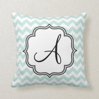Mint Green Chevron Monogram Cushion