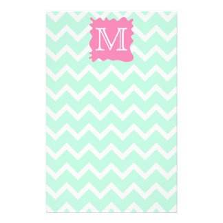 Mint Green Chevron Monogram Design with Pink Splat 14 Cm X 21.5 Cm Flyer