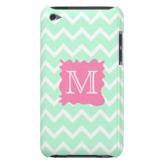 Mint Green Chevron Monogram Design with Pink Splat Barely There iPod Cases