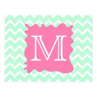 Mint Green Chevron Monogram Design with Pink Splat Postcard