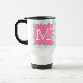 Mint Green Chevron Monogram Design with Pink Splat Stainless Steel Travel Mug