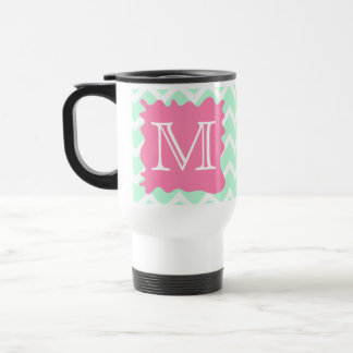Mint Green Chevron Monogram Design with Pink Splat Travel Mug