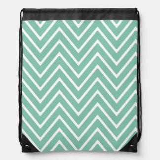 Mint Green Chevron Pattern 2 Drawstring Bag