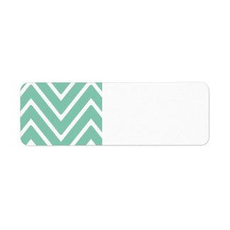 Mint Green Chevron Pattern 2 Return Address Label