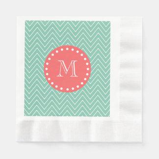 Mint Green Chevron Pattern   Coral Monogram Disposable Napkin