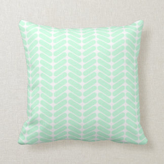 Mint Green Chevron Pattern, like Knitting. Cushion