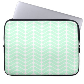 Mint Green Chevron Pattern, like Knitting. Laptop Sleeve