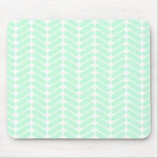 Mint Green Chevron Pattern, like Knitting. Mouse Mat