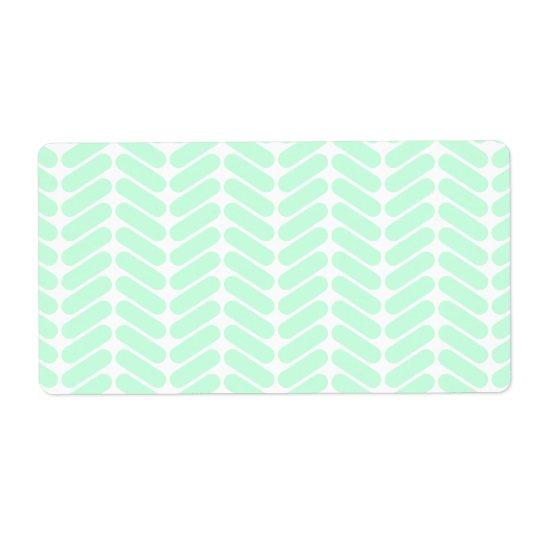 Mint Green Chevron Pattern, like Knitting. Shipping Label