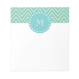 Mint Green Chevron Pattern | Teal Monogram Notepad