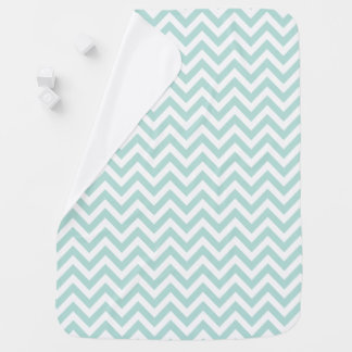 Mint Green Chevron Stripes Receiving Blankets