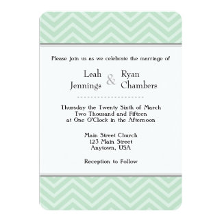 Mint Green Chevron Wedding Invitation