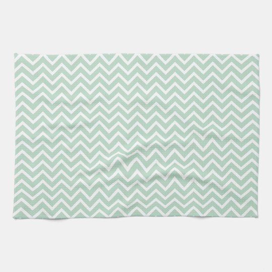 Mint Green Chevron Zigzag Stripes Tea Towel