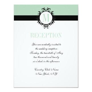 Mint Green Chic Monogram | Wedding Reception Card 11 Cm X 14 Cm Invitation Card