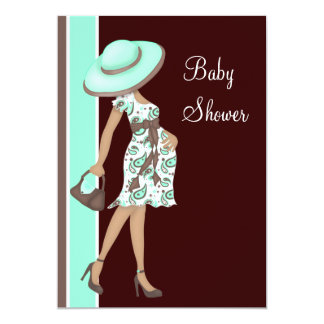 Mint Green Chocolate Brown Baby Shower 13 Cm X 18 Cm Invitation Card