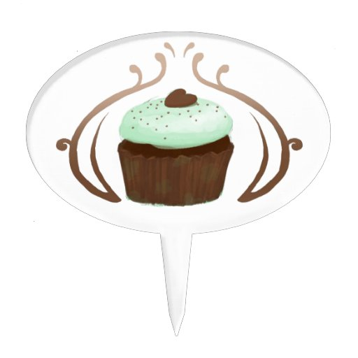 Mint Green Chocolate Cupcakes Cake Topper