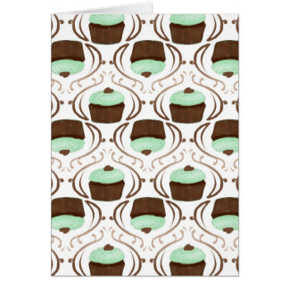 Mint Green Chocolate Cupcakes Greeting Card