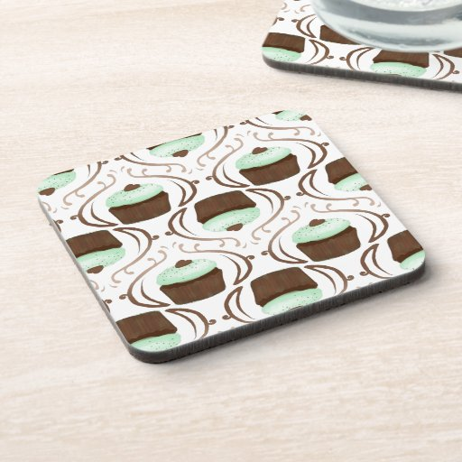 Mint Green Chocolate Cupcakes Coasters