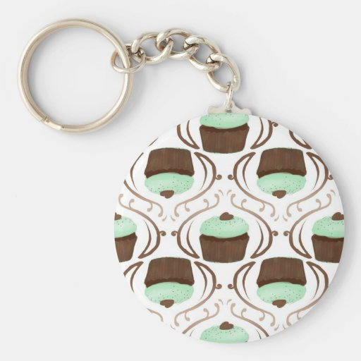 Mint Green Chocolate Cupcakes Key Chains