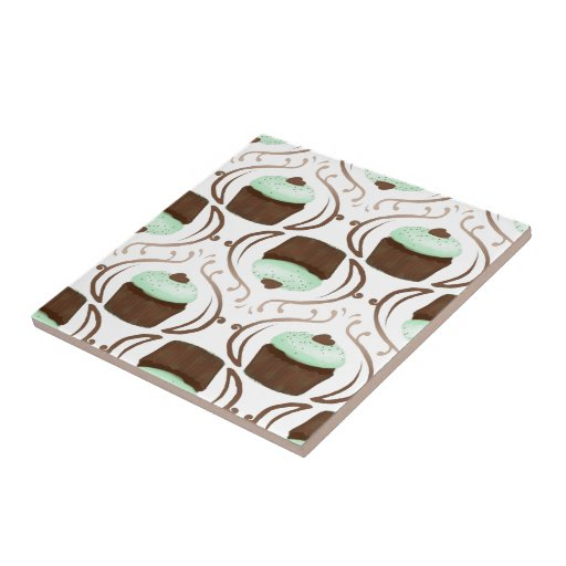 Mint Green Chocolate Cupcakes Tiles