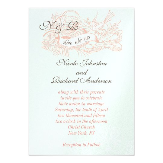 Mint Green Coral Pink Vintage Wedding Invitation