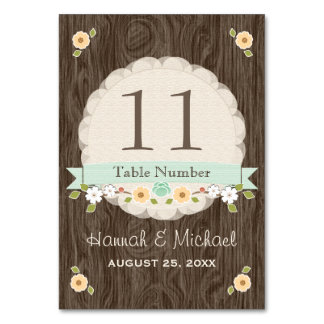 MINT GREEN COUNTRY CHARM WEDDING TABLE NUMBER CARD