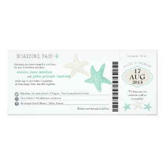 Mint Green Cream Starfish Boarding Pass Wedding 10 Cm X 24 Cm Invitation Card
