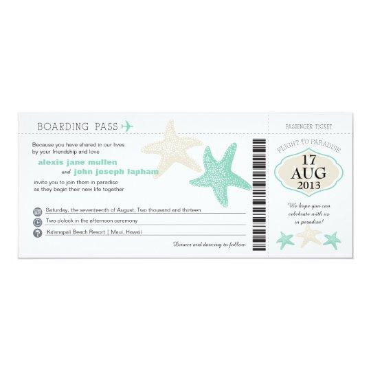 Mint Green Cream Starfish Boarding Pass Wedding Card