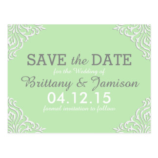 Mint Green Damask Elegant Save the Date Postcard