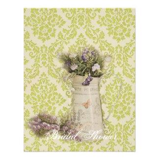 mint green damask floral  country bridal shower custom invitation