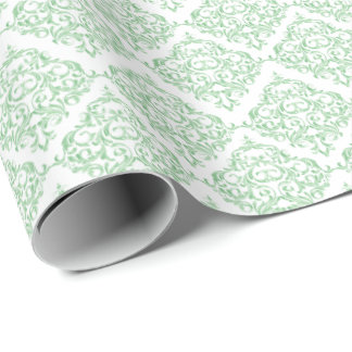 Mint Green Damask Pattern | DIY Background Color Wrapping Paper