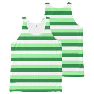 Mint Green, Dark Green and White Stripes All-Over Print Tank Top