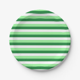 Mint Green, Dark Green and White Stripes Paper Plate