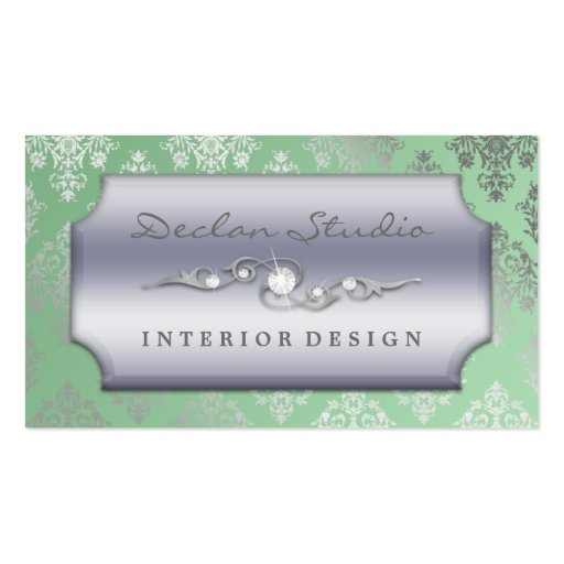 green dashing damask fashion interior design business card templates