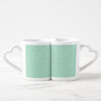 Mint Green Diamond Couples Coffee Mug Set