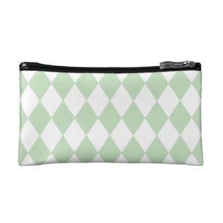 Mint Green Diamond Pattern Cosmetic Bag