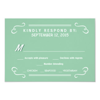 Mint Green Eat Drink & RSVP Rustic Wedding Reply Card