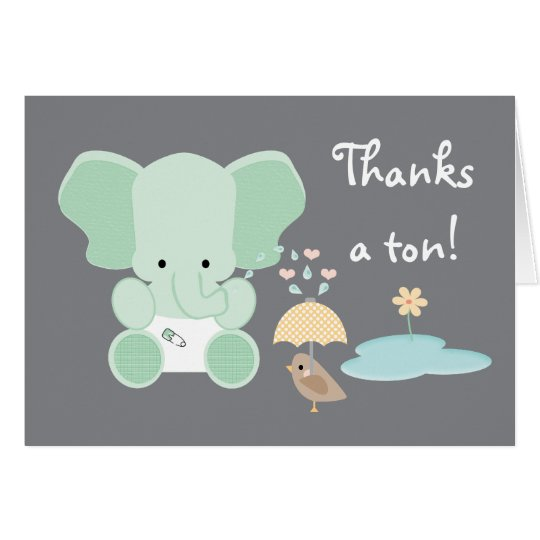 Mint Green Elephant Diaper Baby Shower Thank You