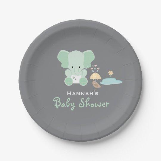 Mint Green Elephant Little Bird Baby Shower Paper