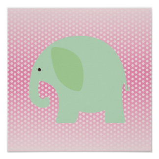 Mint Green Elephant on Pink Poster