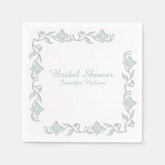 Mint Green Floral Bridal Shower Napkins Paper Napkin