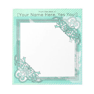 Mint Green Floral Collage Polka Dot + Line Theme Notepad