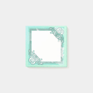 Mint Green Floral Collage Polka Dot + Line Theme Post-it Notes
