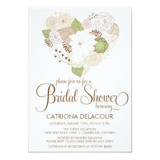 Mint Green Floral Heart Bridal Shower Invitation
