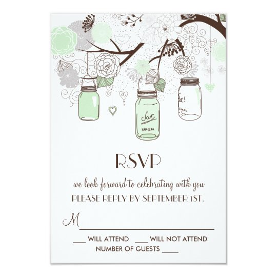 Mint Green Floral Mason Jars Wedding RSVP Card