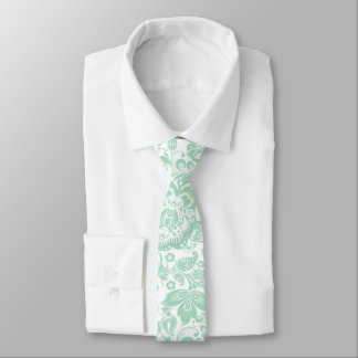 Mint-Green Floral Pattern On White