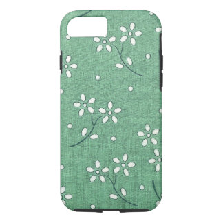 Mint Green Floral Retro Flower Abstract Pattern iPhone 8/7 Case