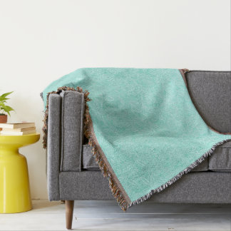 Mint Green Floral Throw Blanket