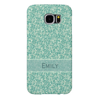 Mint Green Glitter And Sparkles Monogram Samsung Galaxy S6 Cases