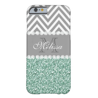 MINT GREEN GLITTER, GRAY CHEVRON, MONOGRAMMED BARELY THERE iPhone 6 CASE